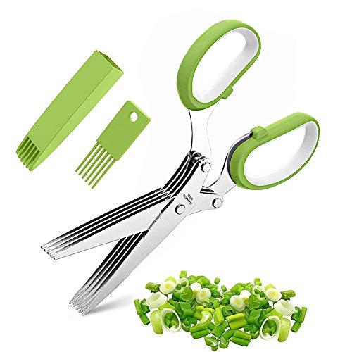 Kräuterscheren-Set - Multifunktionale Kräuter Schere Cutter, Küchenschere Gemüseschere Edelstahl mit 5 Klingen und Reinigungsbürste, Clever Cutter Sicherheitsabdeckung