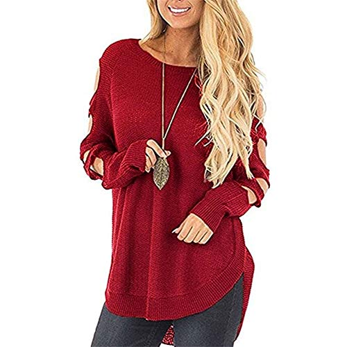 Best Deals! KYLEON_Sweater Women's Casual Solid T Shirts Twist Knot Tunics Tops Blouses Red