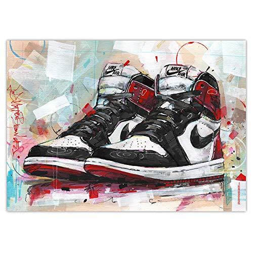 Nike Air Jordan 1 Retro High 'Black Toe' Art Print (50 x 70 cm), sin marco
