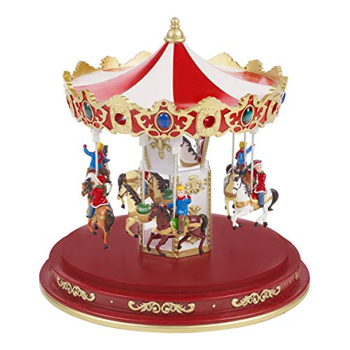 The Christmas Workshop Animated Carousel Ornament, Various, 24.5cm High x 23.5cm Diameter
