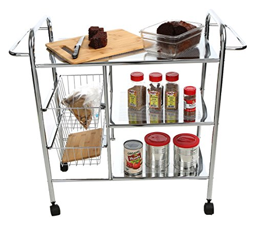 Mind Reader 3-Tier Kitchen / Utility Cart with 2 Shelves, 2 Baskets For Extra Storage, Handles for Hanging Towels