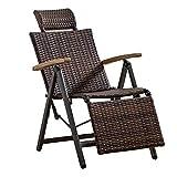 AWJ Tumbona de Interior para Exteriores, Silla Mecedora de Mimbre de ratán, sillón Ajustable de Gravedad Cero, sillón reclinable Vintage para Patio, Piscina, terraza, ho