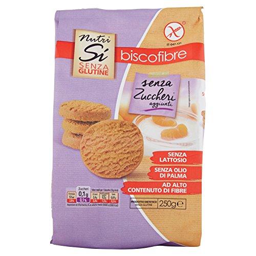 Nutrisi'- Biscofibre senza Zuccheri 250G, 4 pezzi, Senza glutine