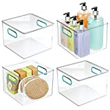 mDesign Plastic Storage Bin with Handles for Organizing Hand Soaps, Body Wash, Shampoos, Lotion, Conditioners, Hand Towels, Hair Accessories, Body Spray, Mouthwash - 8' Square, 4 Pack - Clear/Blue