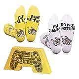 CREA SOCKS Lustige Gaming-Socken, Neuheit, Funky, Skurrile, Bunte Gamer-Socken für Geschenke, Baumwolle, Eat Sleep Game Repeat, Ich bin Gaming-Socken 2 Paar EU 41-46