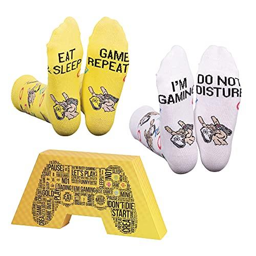 CREA SOCKS Calcetines divertidos para gaming Funky Skurrile, de algodón, para regalo, para jugar a juegos, 2 pares, EU 41 – 46