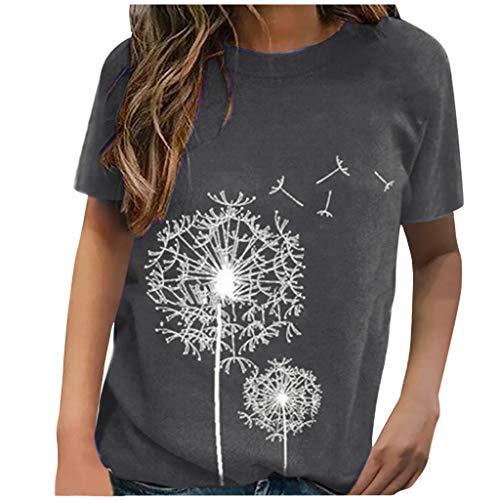 Damen T-Shirt Einfarbig DrucktesRundhals Kurzarm Sommer Shirt Locker Oberteile Basic Tops