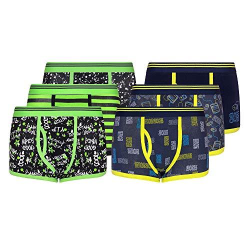 Jungen Klassische Boxershorts 3er 6er 9er und 12er Pack gekämmte Baumwollmischung Designer Trunk Unterwäsche 2-13 Jahre Gr. 13 Jahre, 6 Paar Graffiti/Gaming