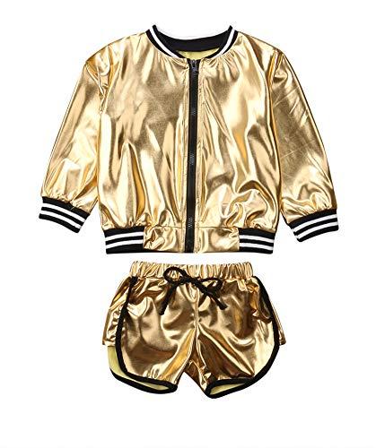Girls Golden Outdoor Active Jacket Outfit Waterproof Long Sleeve Zipper Pullover Sweatshirt+Drawstring Short Pants (Golden, 5-6 Years)