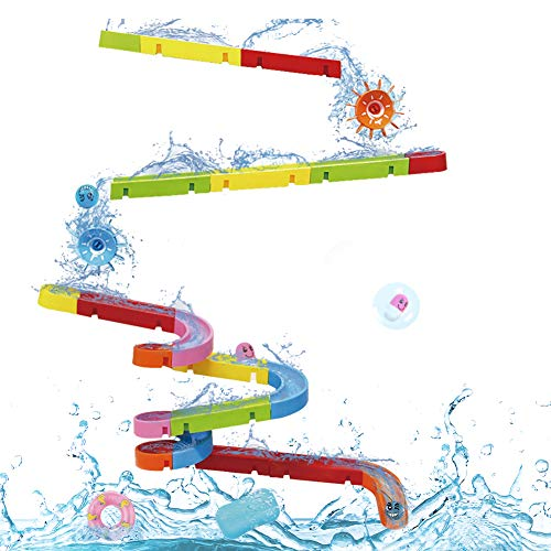Nuheby Bath Toys Bath Track Game Shower Toys Bath Watermill Toy Bath Time Multicoloured Diy Sucking Orbit with Suction Cups Kids Boys Girls Toys 3 4 5 Years Old