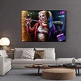 KWzEQ Payaso Femenino Arte de la Pared Pintura al óleo Lienzo impresión película póster Modular Sala de Estar Pintura de la Pared,Pintura sin Marco,60X90cm