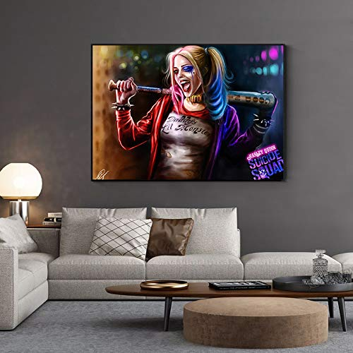 BailongXiao Clown weibliche Wandkunst Ölgemälde Leinwanddruck Filmplakat modulare Wohnzimmer Wandmalerei,Rahmenlose MalereiCJX1933-50X75cm