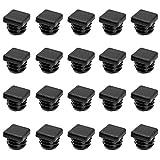 KiKiHong 20 Pcs Tapones de Plástico Cuadrados Negro Plastico Tubo Cuadrado Tapones de Inserción Tubo Para Mobiliario Silla Pata del (20 * 20mm)