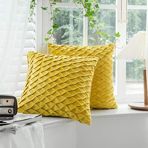 QZY 2er Set Samt Kissen mit Falten Kissenbezüge Dekorative Kissenhülle Kopfkissen Sofakissen mit Verstecktem Reißverschluss 45x45cm Gelb