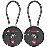 Forge Quality TSA Approved Luggage locks for travel accessories, suitcase, pelican case, ammo boxes, set your own combination, Zinc Alloy Body- cable locks Black 2 locks