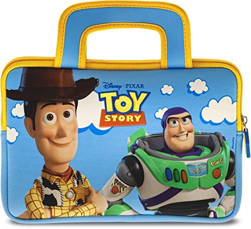 Pebble Gear Toy Story 4 Carry Bag - Universal neoprene kids carrry bag in Pixar Toy Story 4-Design, for 7' tablets (Fire 7 Kids Edition, Fire HD 8 case), durable zip, Woody and Buzz Lightyear