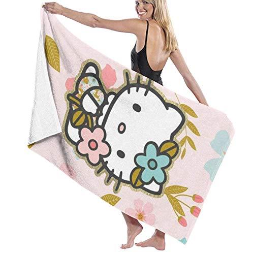 AllenPrint Toallas De Playa,Toalla De Playa He-Llo Ki-Tty, Toallas Decorativas De SPA para Adultos para Viajes De Gimnasio En La Piscina,80x130cm
