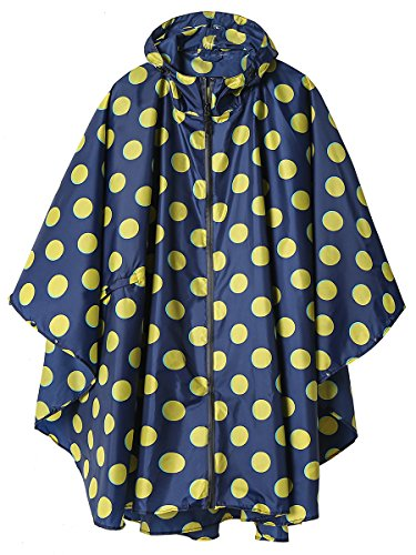 Stylish Unisex Hooded Waterproof Rain Poncho with Zipper Outdoor Windbreak Colorful Ripple Rain Jacket (Yellow Point)