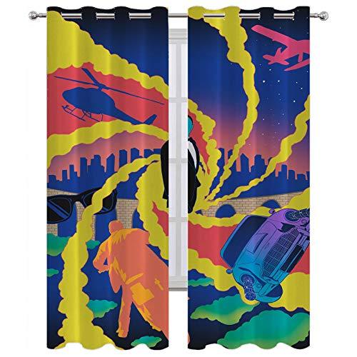 SSKJTC Cortinas de bloqueo de luz anime coloridas, sin tiempo para morir, cortinas de ilustración para ventanas de cocina (183 x 160 cm)