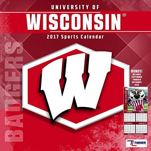 "Turner Licensing Sport 2017 Wisconsin Badgers Team Wall Calendar, 12""X12"" (17998011833)"