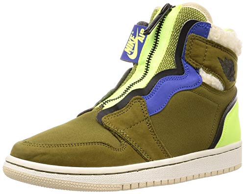 Nike Damen WMNS Air Jordan 1 High Zip Up Fitnessschuhe, Mehrfarbig (Olive Flak/Black/Volt Glow/Beach 300), 40 EU