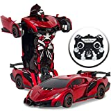Best Choice Products 1:16 Scale Transforming RC Remote Control Robot Drifting Race Car Toy w/ LED Lights - Red