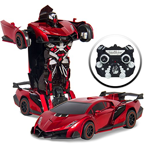 Best Choice Products 1:16 Scale Kids Transforming RC Robot Race Car w/ LED Lights, Red