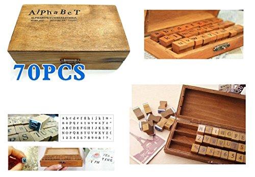 Coffret en bois de 70 tampons en bois et caoutchouc alphabet, chiffres et signes