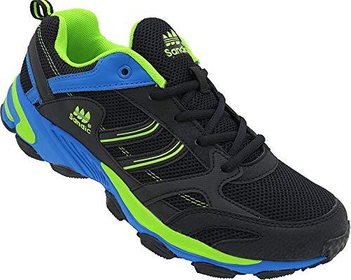 Herren Sportschuhe Sneaker Turnschuhe Schuhe Gr.41-46 Art.-Nr.69/3, Schwarz-royal-grün, 42 EU