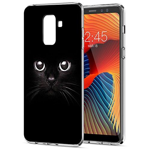 Funda Samsung Galaxy A8 2018, Eouine Cárcasa Silicona 3d Transparente con Dibujos Diseño Suave Gel TPU [Antigolpes] de Protector Bumper Case Cover Fundas para Movil Samsung Galaxy A8 2018 (Gato negro)