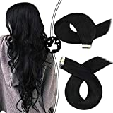 Moresoo 24 Inch Tape in Hair Extensions 100% Remy Human Soft and Thick Invisible Glue in Hair Jet Black Color #1 Remy Hair 20pcs/50g Tape on Extensions