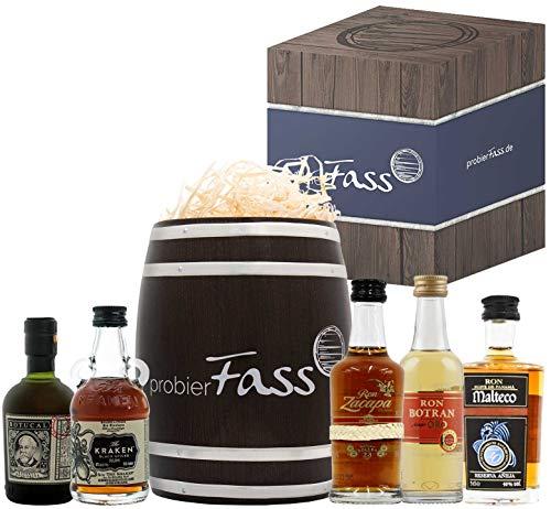 Rum Männer Geschenk | 5 besondere Rum Spezialitäten (5 x 0.05 l) in einem Fass mit Geschenkverpackung | Rum Set
