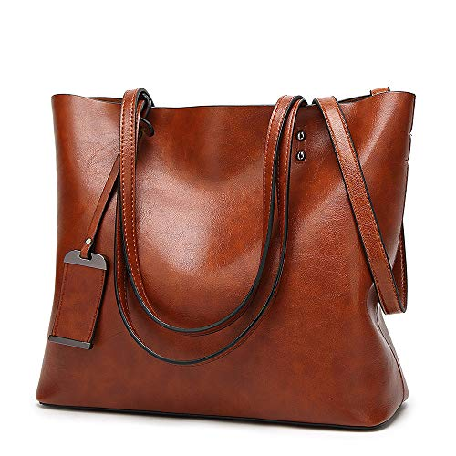 "MATERIAL: High Quality Greased Leather DIMENSIONS: 12.9""L x 5.1""W x 11.8""H.Suitable for you to carry it in daily-use, such as shopping. dating, working, traveling and so on. INTERNAL:1 side zipper pockets for wallets ,1 middle zipper pockets, 2 compa..."