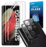 TOPACE Schutzfolie kompatibel mit Samsung Galaxy S21 Ultra Schutzfolie(3)+Kamera Panzerglas(2), Bildschirm & Kamera schützen, Fingerabdruck-ID unterstützen Folie, HD Weich TPU Bildschirmschutzfolie