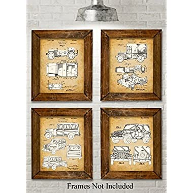 Original Jeep Patent Art Prints - Set of Four Photos (8x10) Unframed - Great Gift for Jeep Drivers
