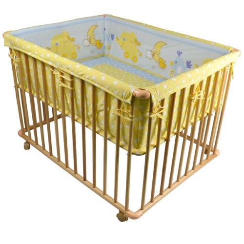 HONEY BEE Laufgitter 100x75cm inkl. Einlage Babylaufstall 3-fach höhenverstellbar HELLBLAU/GELB 53516-D03x