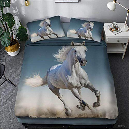 WGLG Double Bedding Duvet Set, Three Running Horses Cotton Home Textiles King Size Bed Linens Duvet Cover And Pillowcase Bedclothes Single Black