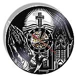 GenericBrands Disco de Vinilo Reloj de Pared Oración Cristiana Moderno Mudo iseñO Retro 3D Vinilo Record Clock CD Negro Hollow Record Wall Art Home Decor Reloj de Pared Colgante 12 Pulgadas