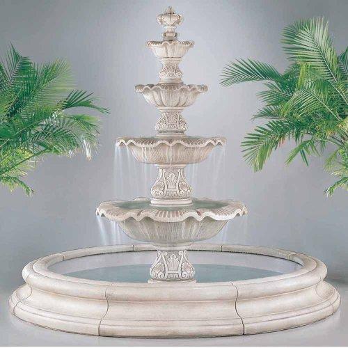 Henri Studio Four Tier Renaissance Fountain In Toscana Pool - White