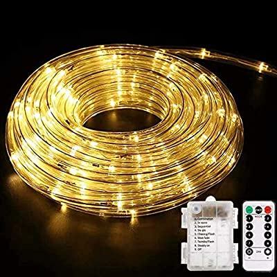 Battery Operated LED Rope Lights, YoungPower Warm White String Lights Remote Control Fairy Lights Outdoor, 40ft 120 LED Indoor Outdoor Christmas Lighting for Tree Patio, Bedroom, Boat