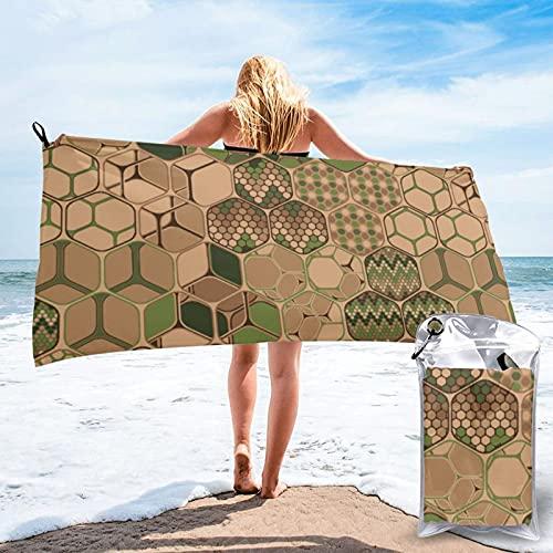 Hexagons Trio - Toalla de baño vertical grande de microfibra, súper suave, ligera, muy absorbente, toalla de baño de secado rápido para natación, deportes, playa, gimnasio, baño de 31.5 x 63 pulgadas