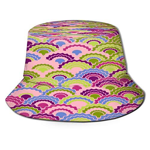 Sombrero Pescador Unisex,Vector de Fondo de Squama de Escamas de Sirena de fantasía,Plegable Sombrero de Pesca Aire Libre Sombrero Bucket Hat para Excursionismo Cámping De Viaje Pescar