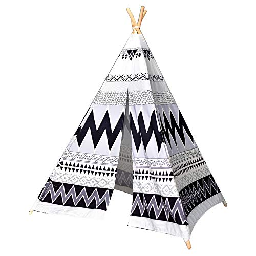 Kids Teepee Play Foldable Cotton Canvas Conical Tent Black and White Ripple Kids Play Folding Game Tent Without Cushions Indoor and Outdoor Children's Toys (Color : Black White, Size : As shown)
