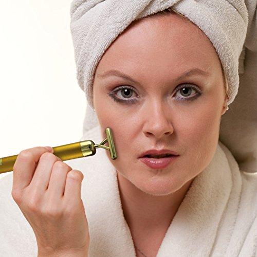 Anti-Aging Roller Vibration Gesicht massage Haut Kosmetisches Massagegeraet Antifalten beauty Gold Gesichtsmuskulatur