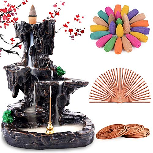 Rongyuxuan Backflow Incense Holder Waterfall Incense Burner, Mountain Tower Censer Aromatherapy Ornament Home Decor with 150 Backflow Incense Cones ,48 Incense Coils,30 Incense Sticks,Mat