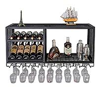 【Vintage & Rustic Wine Racks Metal】: Le casier à vin artisanal est fait de fer robuste avec une surface enduite de poudre et toutes les parties sont bien soudées, donc il n'y a pas d'arêtes vives, sans rouille et durable. pin), forte capacité portant...