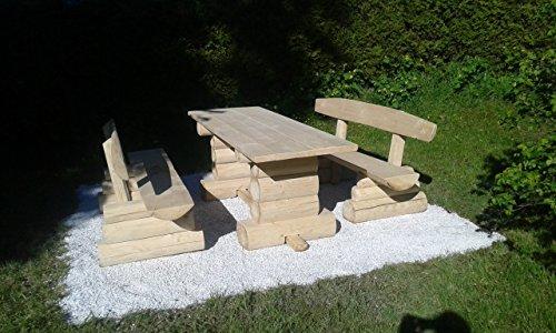8 Personen Holzbalken Garten Sitzgruppe Bild 6*