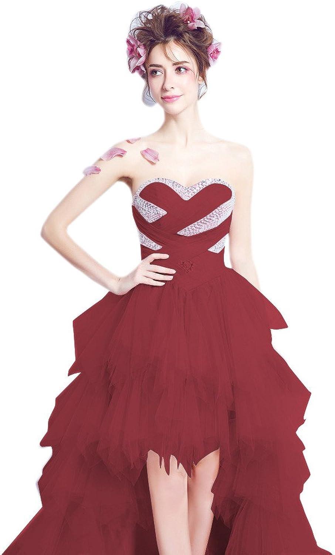 Aurora Bridal 2017 Women Sweetheart High Low Beach Wedding Dress Long Tulle Bridal