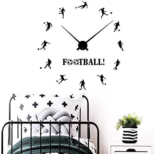 Reloj de fútbol pegatinas de pared niñas niños dormitorio adorno dibujos animados fútbol deportes vinilo pared calcomanías decoración del hogar 57x59 cm
