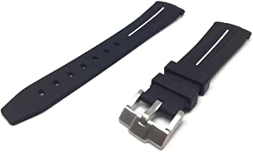 Black Rubber Watch Strap for Oyster Submariner Curved End with White Line 20mm